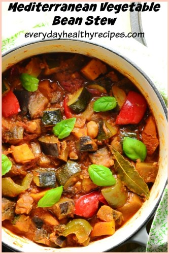 Easy Vegetable Stew Recipe with Beans is loosely based on ratatouille and makes an ideal vegetarian/vegan, gluten free mid-week meal. #veganrecipes #glutenfree #dairyfree #casserole #stew #vegetarianrecipes #easydinner #everydayhealthyrecipes