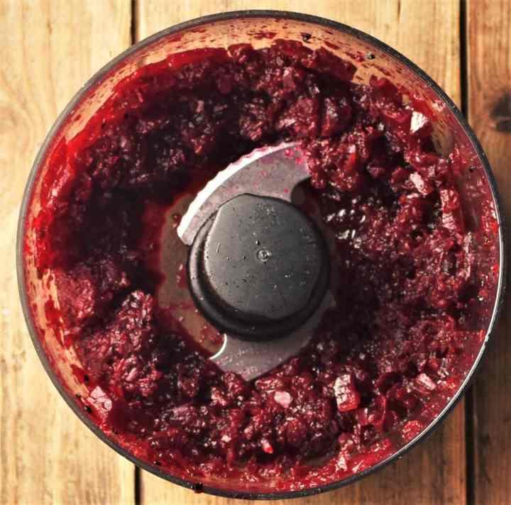 Beet chutney mixture in small blender.
