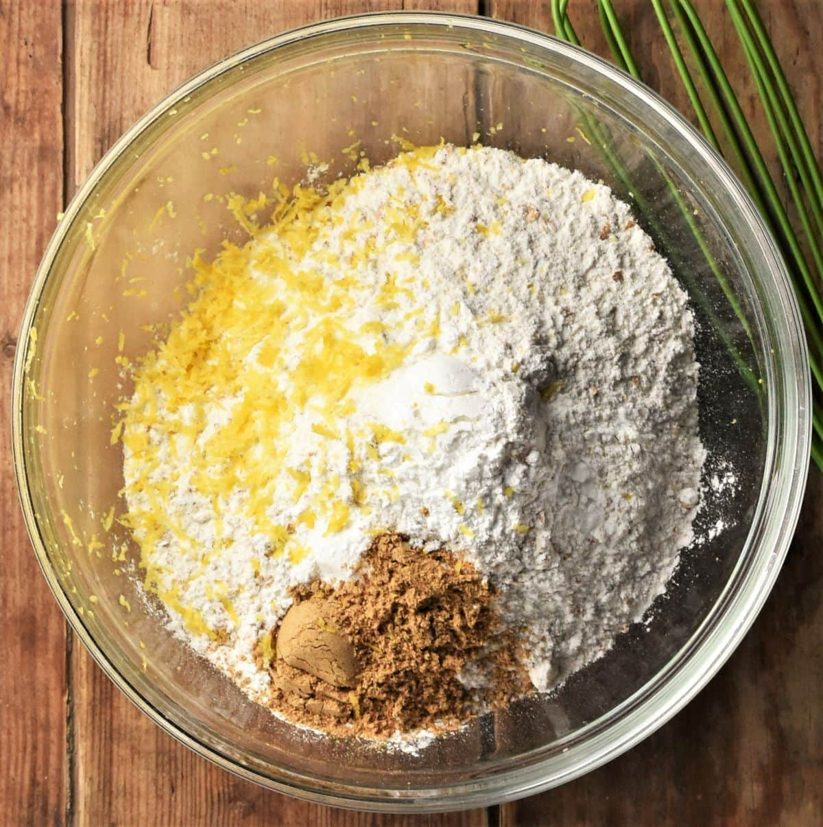 Dry mixture with spice and lemon zest for making beetroot bread.
