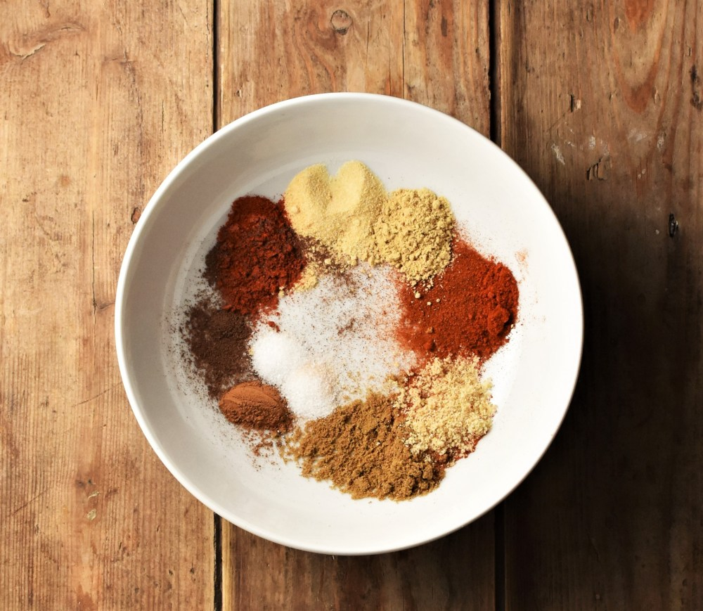 Spices in white bowl.