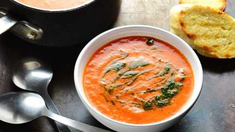 Roasted Red Pepper Tomato Soup with Quinoa