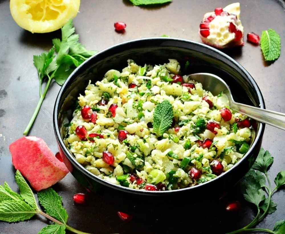 Roasted Cauliflower Rice Tabbouleh with Pomegranate