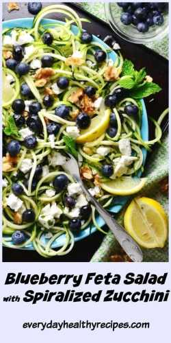 Top down view of blueberry feta salad with zoodles, walnuts and lemon wedges on top of blue plate with fork on metal tray, with green cloth in background.