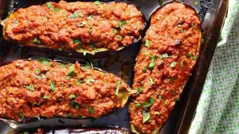 Easy Baked Stuffed Eggplant with Turkey