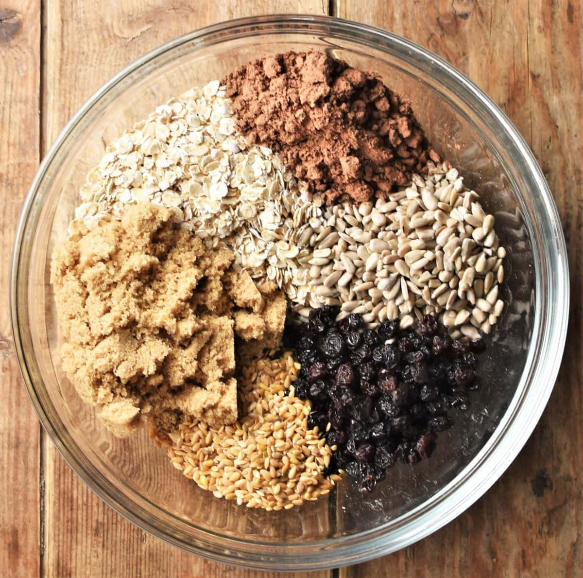 Chocolate oatmeal cookies ingredients in mixing bowl.