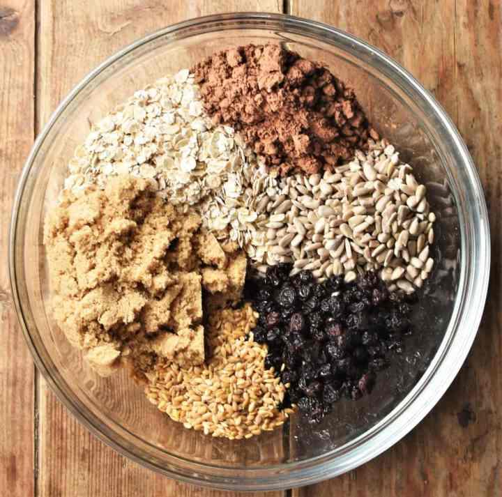 Chocolate oatmeal cookies ingredients in mixing bowl.