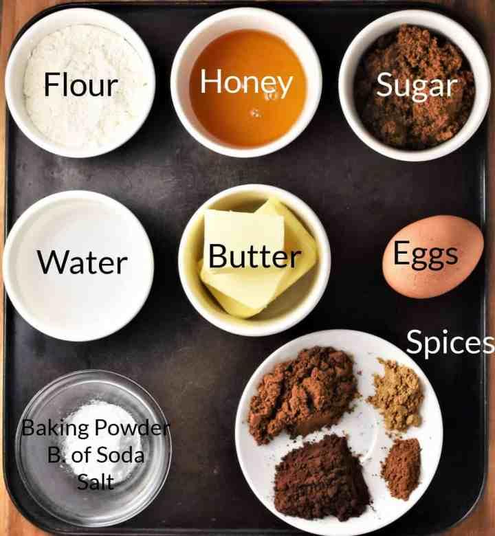 Ingredients for making Polish piernik in individual dishes.