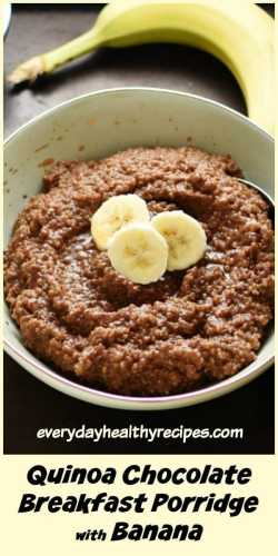 Close-up view of quinoa porridge with slices of banana in light green bowl, with banana in background.