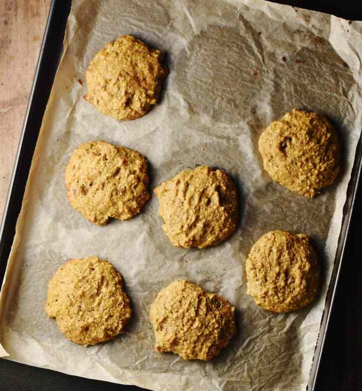 Cookies on top of paper.