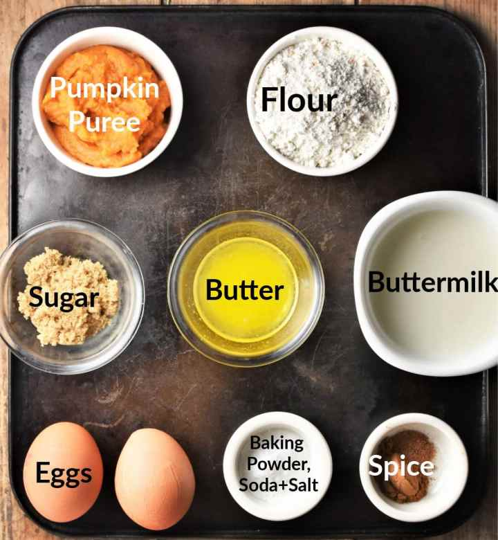 Ingredients for buttermilk healthy pumpkin pancakes in individual dishes.
