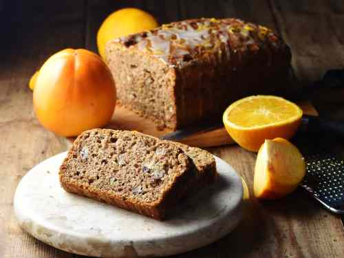 Persimmon Bread with Orange Icing