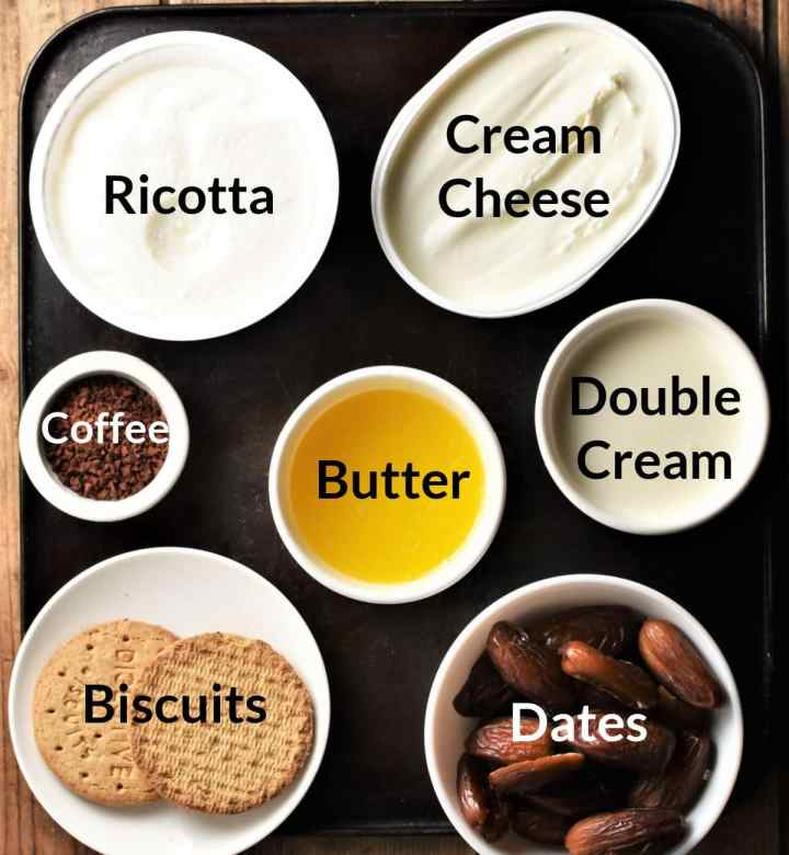 Ingredients for coffee cheesecake recipe in individual dishes.