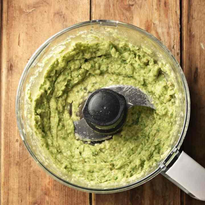 Creamy avocado pesto in blender.
