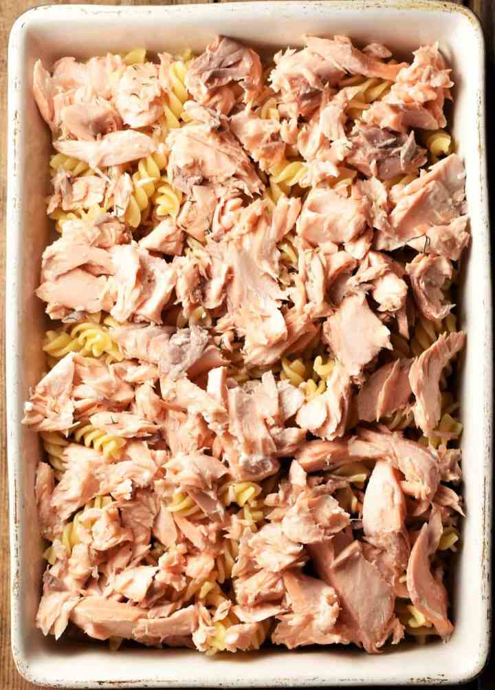 Pasta topped with cooked salmon in casserole dish.