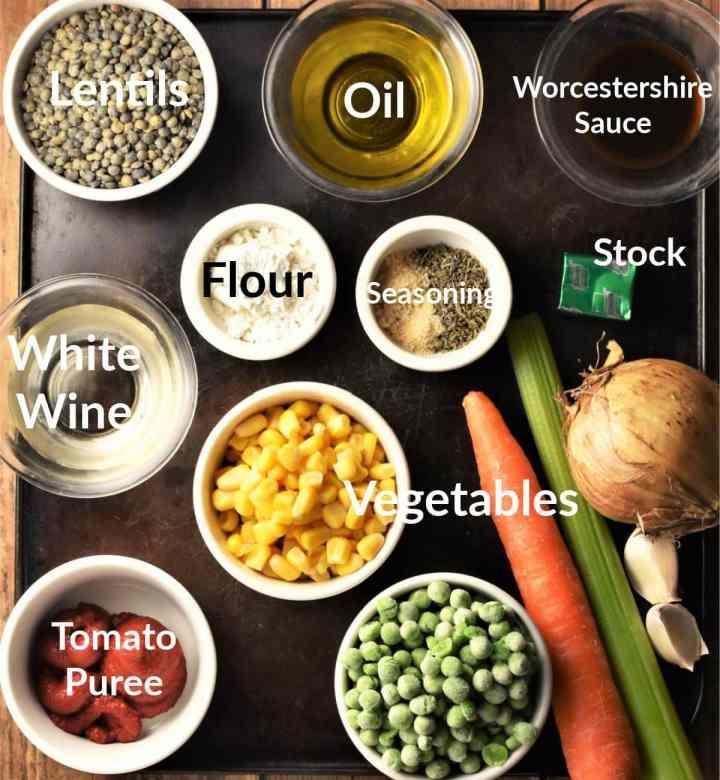 Lentil shepherd's pie ingredients in individual dishes.