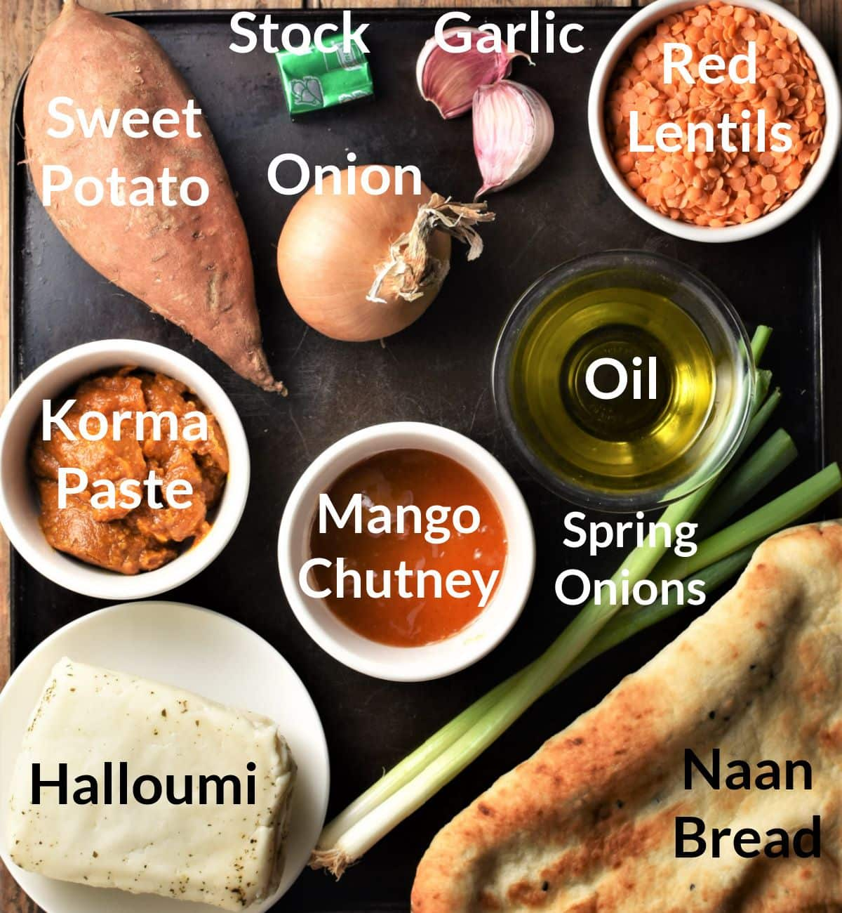 Ingredients for sweet potato dhal in individual dishes.