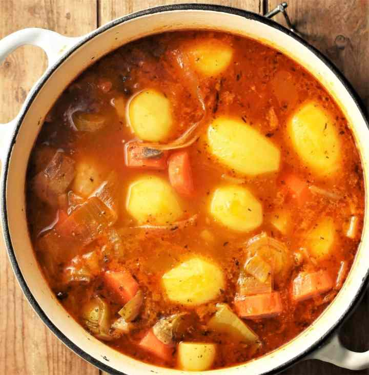 Potato, vegetable and chicken stew in large, white pot.