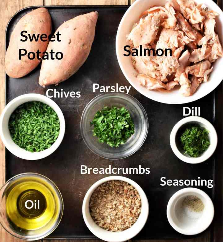 Ingredients for sweet potato salmon fish cakes in individual dishes.