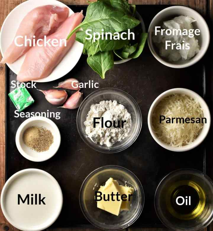 Ingredients for making creamy spinach chicken recipe in individual dishes.