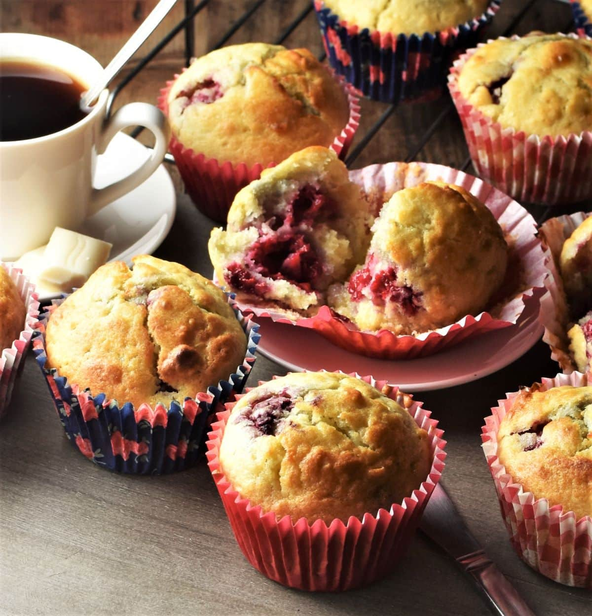 Raspberry muffins in red liners.