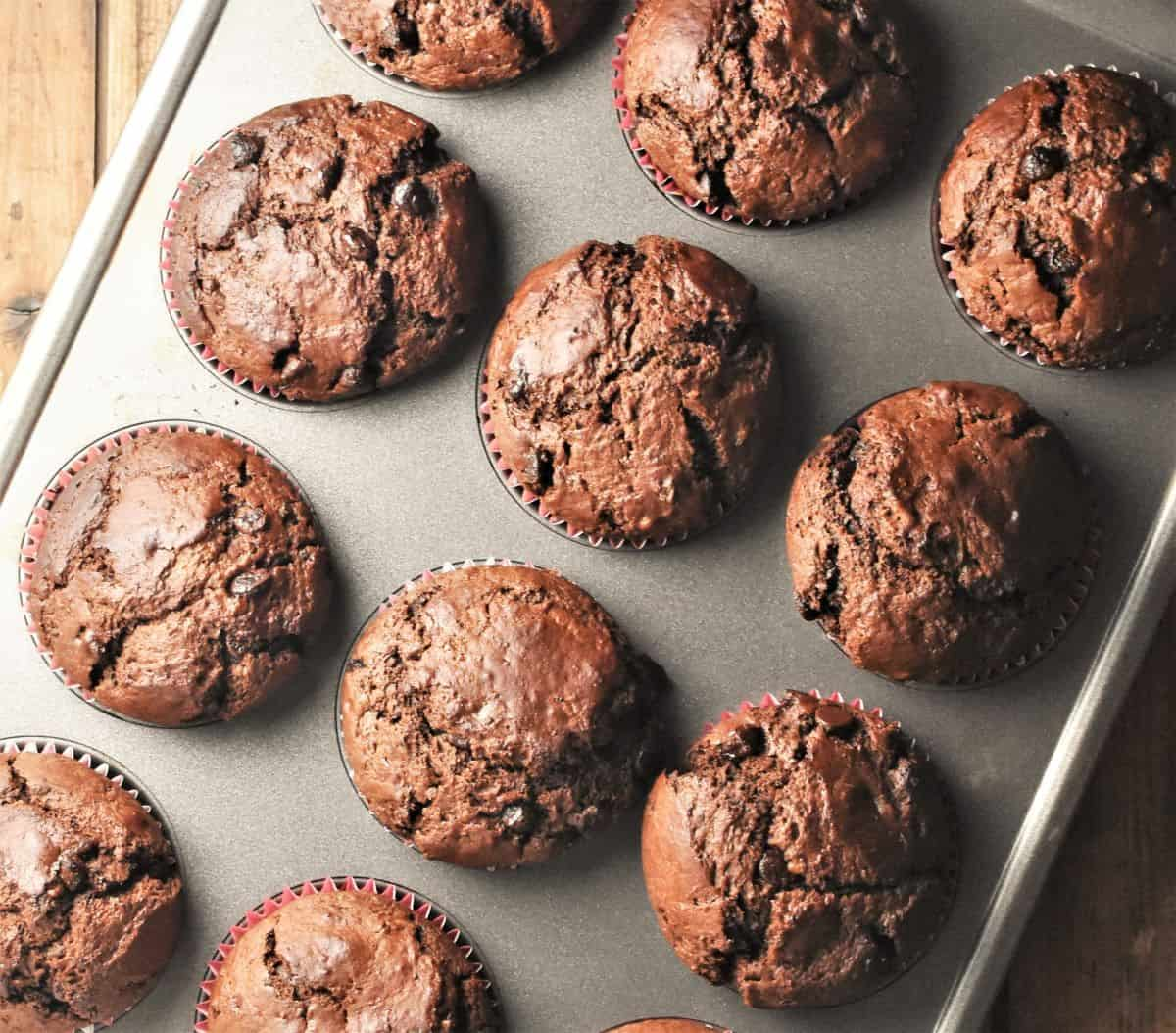 Top down view of chocolate muffins in muffin pan.