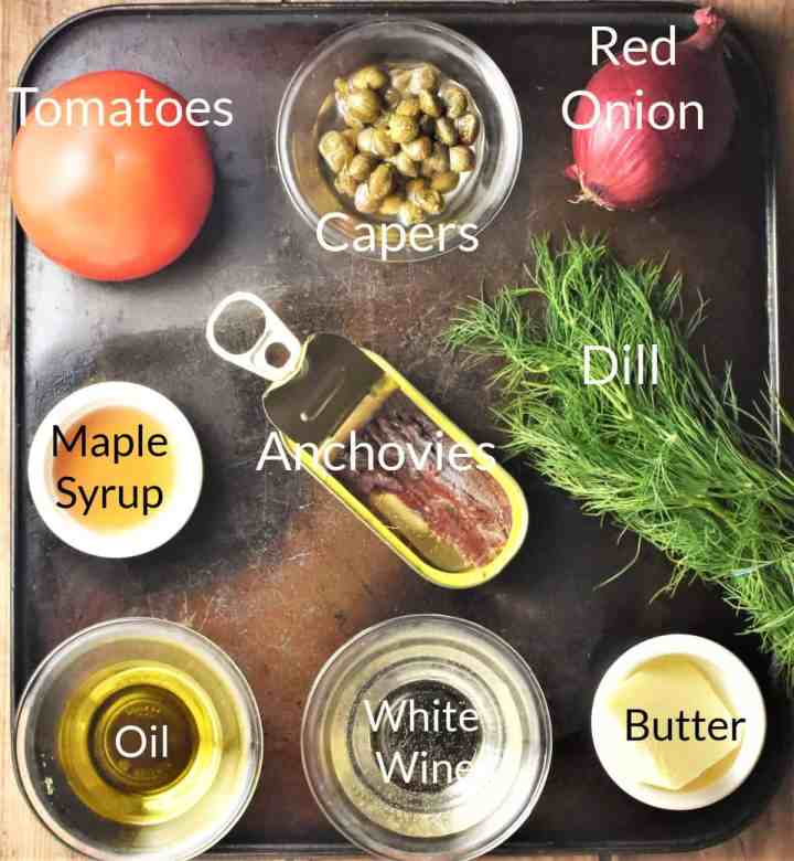 Ingredients for making tomato sauce for fish in individual dishes.