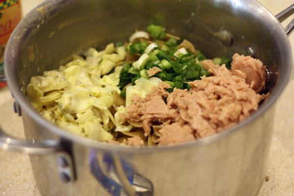 Artichokes, Green Onions, Tuna