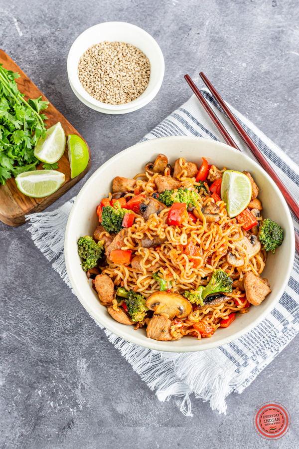 Upgraded Instant Ramen Noodles with Chicken, Broccoli & Mushrooms