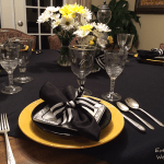 yellow, black and white tablescape l Every Day is the Weekend!