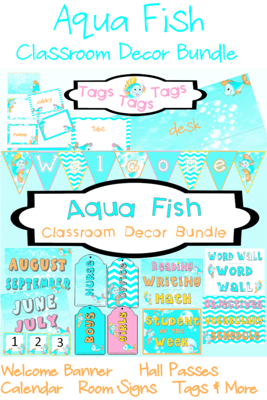 Aqua Fish Classroom Decor Bundle l printable classroom decor to take your room from NOW to WOW!