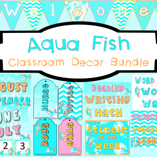 Aqua Fish Classroom Decor Bundle l printable decor to turn your classroom from NOW to WOW!