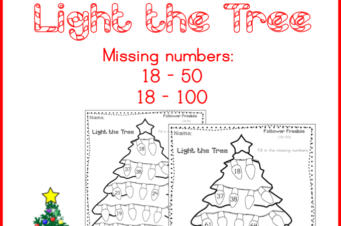 Follower Freebie Light the Tree Fill in the Missing Numbers