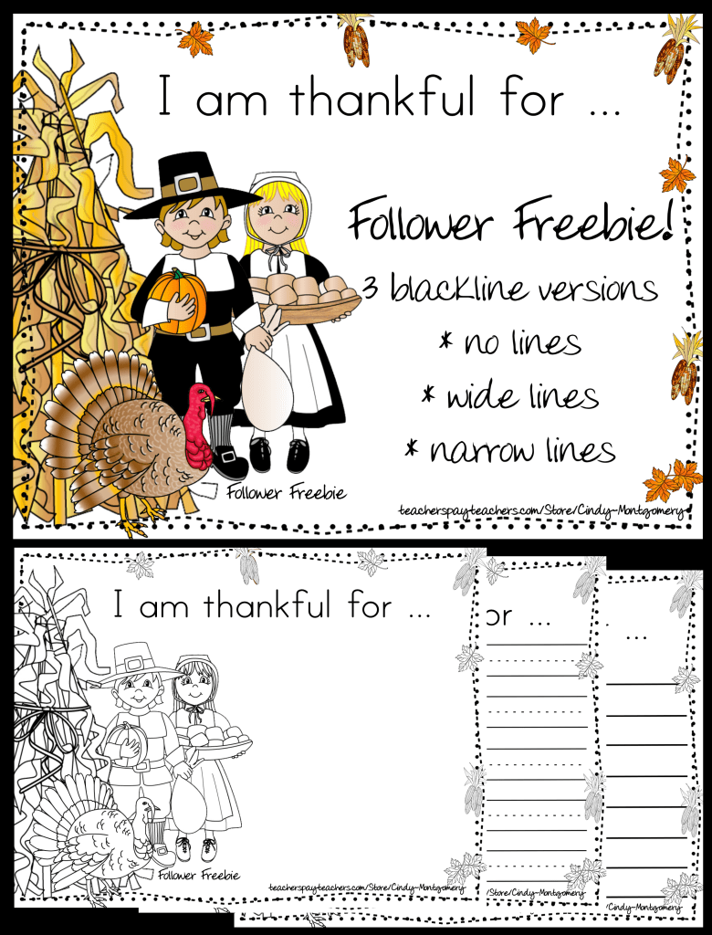 I Am Thankful For Writing Activity Follower Freebie