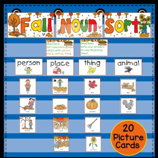 Fall Noun Sorting Activity and Worksheets