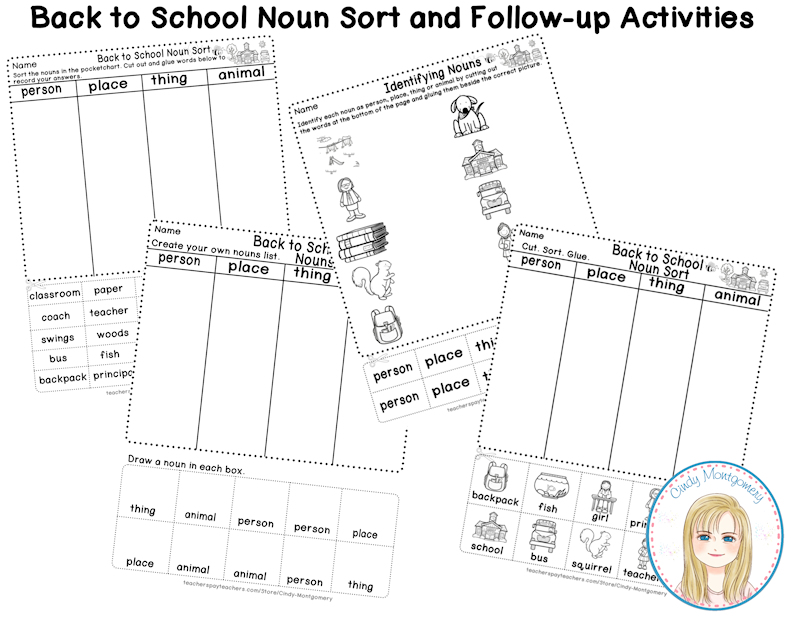 Back to School Noun Sort Follow-up Worksheets