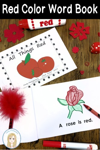 All Things Red Color Word Emergent Reader