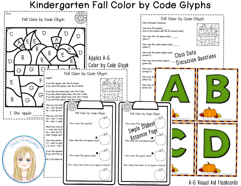 Fall Color by Code Glyphs Kindergarten sample