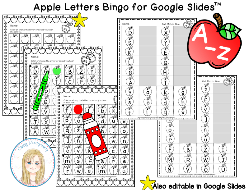 Apple O! Interactive Letters Bingo Game for Google Slides