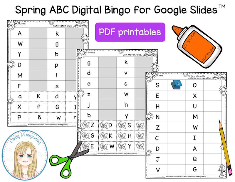 Spring ABC Digital Bingo for Google Slides printables