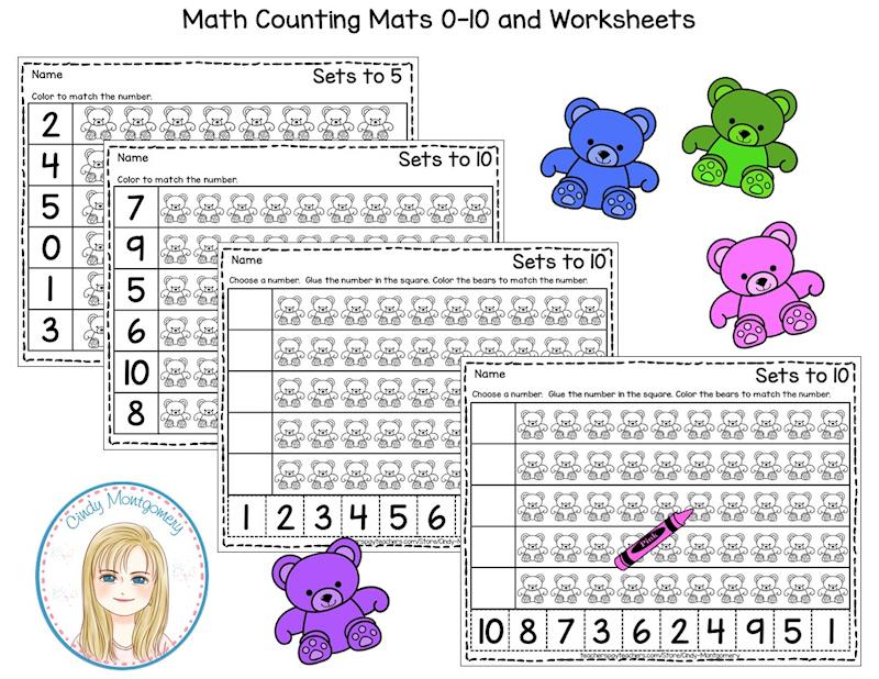 Bear Counting Worksheets 0-10
