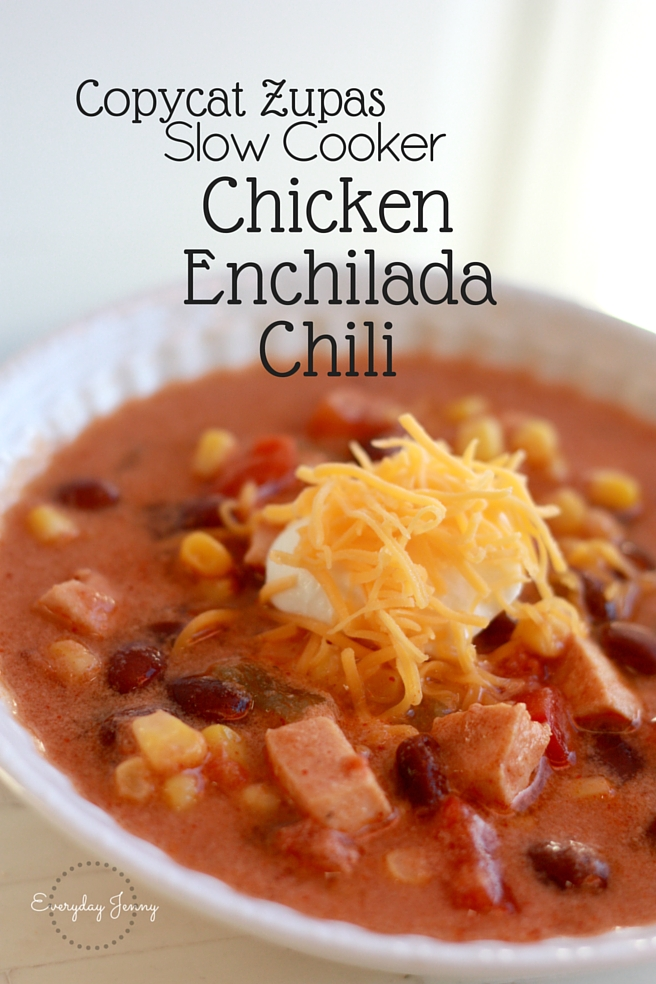 Zupas Chicken Enchilada Chili slow cooker recipe! This is so good. Recipe at everydayjenny.com