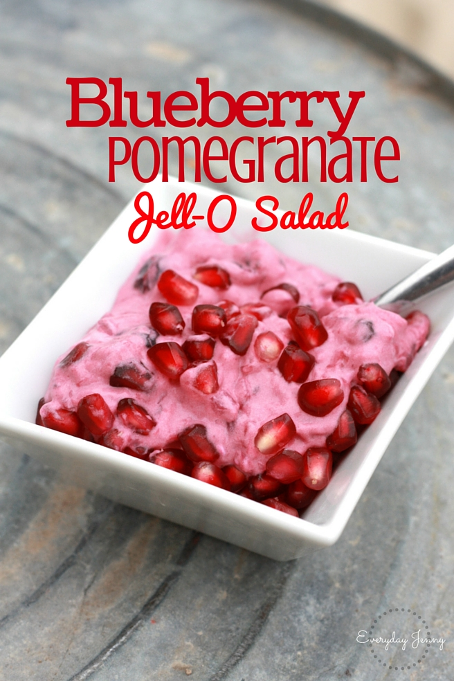 Blueberry Pomegranate Jell-O Salad. Great side dish for Thanksgiving or Christmas. Recipe at everydayjenny.com
