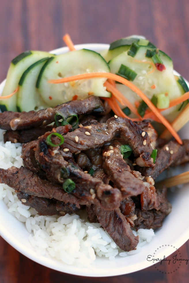 Korean Beef Bulgogi rice bowl and quick pickled cucumber and carrots. Made with Jones Creek grass fed beef (you can find it at Walmart). Super delicious! Recipes at everydayjenny.com