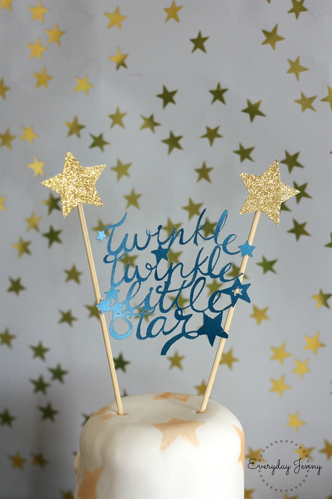 Navy And Gold Twinkle Little Star First Birthday Party Cake Topper
