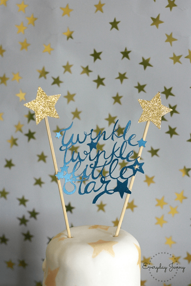 Navy and Gold Twinkle Twinkle Little Star First Birthday Party Cake Topper