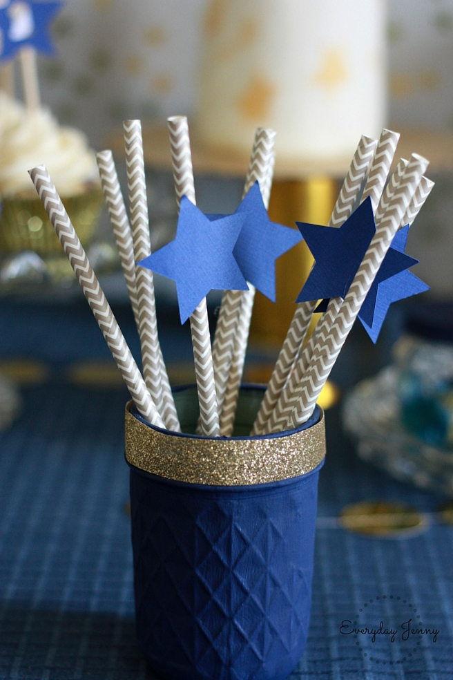 Navy and Gold Twinkle Twinkle Little Star Straws