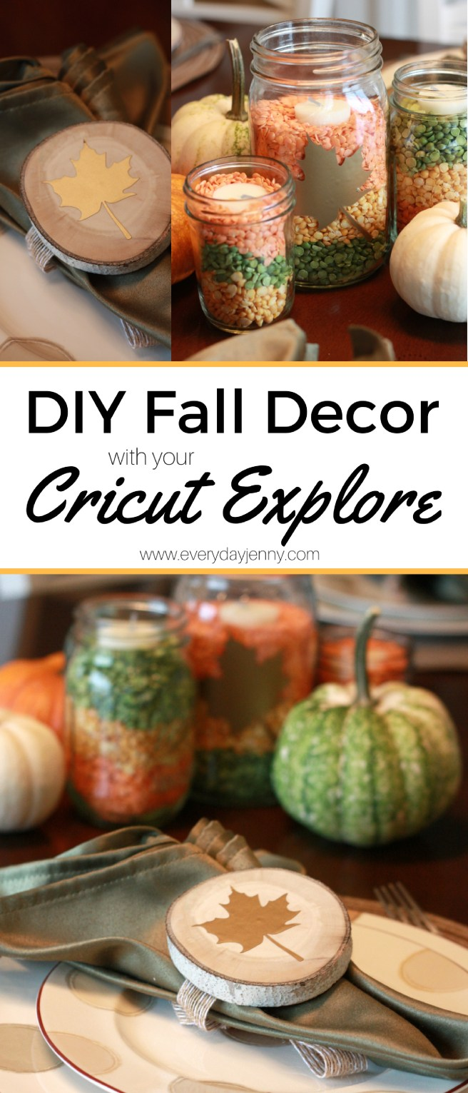 Use your Cricut Explore and metallic adhesive foil to make these cute fall centerpieces and napkin rings.