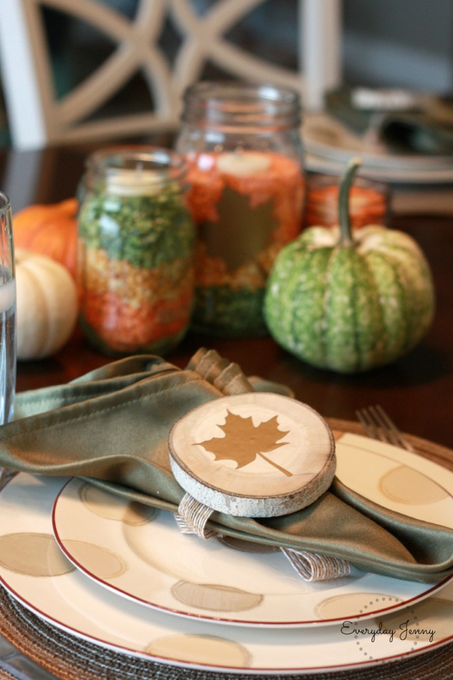 Fall dinner party decor made with Cricut Explore Air 2. Instructions at everydayjenny.com