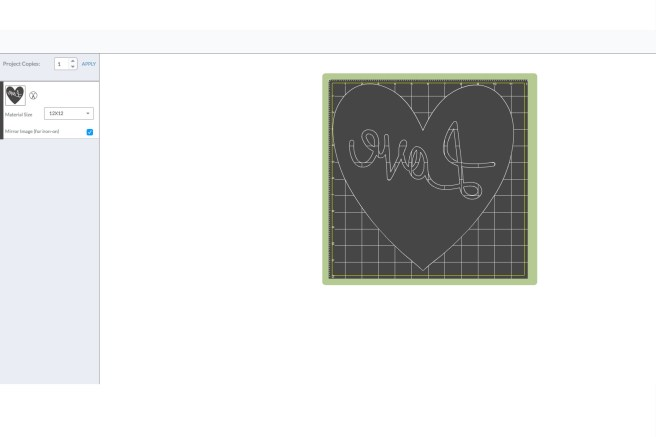 Screen shot of DIY Love Pillow Design Space mirror image for Iron-on