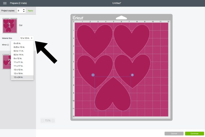 8d6f47c8 Below I have selected a 12X24 size and now all my hearts fit on one mat.  The next step is to click continue and then cut out my images.